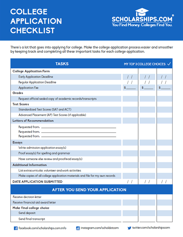 college application checklist Our college admissions checklist outlines the steps we'll take together to begin your purdue global education review helpful admissions tips.